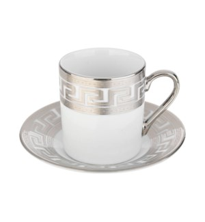 Coffee Cup and Saucer 3.5oz Silver Decal Porcelain           643700292322