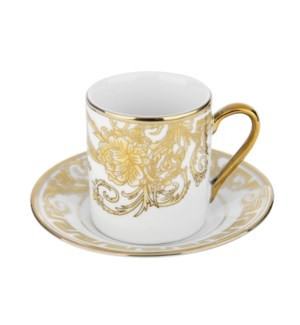 Coffee Cup and Saucer 3.5oz Gold Decal Porcelain             643700292339