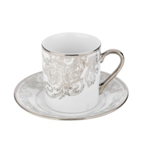 Coffee Cup and Saucer 3.5oz Silver Decal Porcelain           643700292346