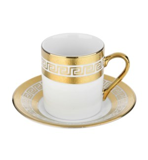 Coffee Cup and Saucer 3.5oz Gold Embossed Decal Porcelain    643700292353