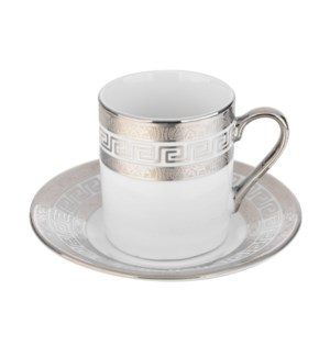 Coffee Cup and Saucer 3.5oz Silver Embossed Decal Porcelain  643700292360