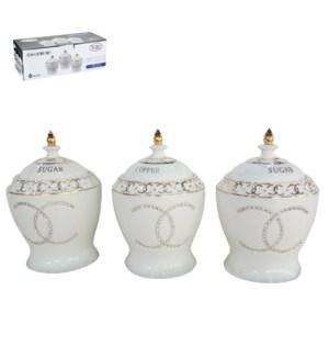 Canister 3pc Set New Bone China, Gold Design                 643700293053