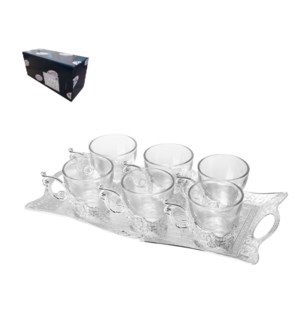 Tea Set with 6pc Cups,1pc Tray Shiny Silver Plated           643700293602