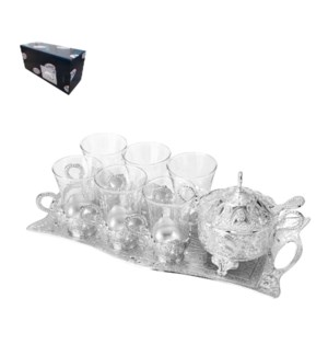Tea Set with 6pc Cups,1pc Tray and 1pc Sugar Pot,Shiny Silve 643700293619