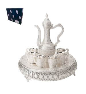 Tea Set with 6pc Cups,1pc Tray and 1pc Jug,Shiny Silver Plat 643700293633