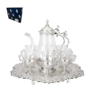 Tea Set with 6pc Cups,1pc Tray and 1pc Jug,Shiny Silver Plat 643700293640