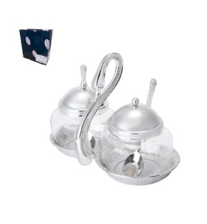 Glass Spice Jar 2pc Set with 7in Holder Shiny Silver Plated  643700293718
