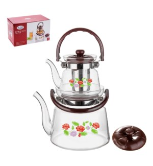 Double Tea Pot High Borosilicate Glass 0.6L and 2.2L with St 643700294173