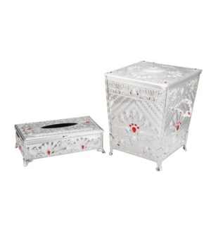 Trash Bin 11in and Tissue Box 10.5in,Silver Plating with Red 643700294265