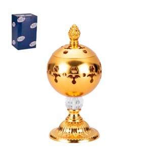 Incense Burner Iron 3x3x6.5in Gold                           643700296344
