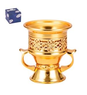 Incense Burner Iron 4x3.5x4in Gold                           643700296382