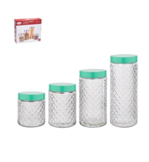 Glass Canister 4pc set 72Oz, 55Oz, 41Oz, 26Oz with Teal Lid  643700298485