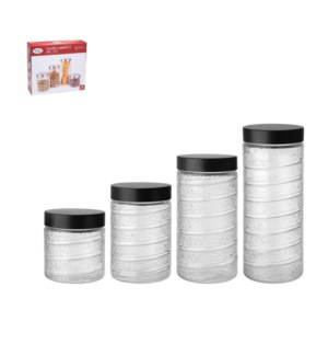 Glass Canister 4pc set 72Oz, 55Oz, 41Oz, 26Oz with Black Lid 643700299451