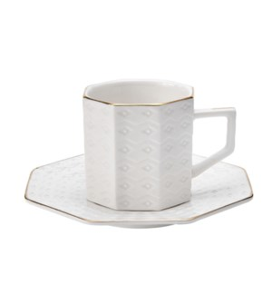 Coffee Cup and Saucer 6 by 6,3.5oz,New Bone China            643700300249