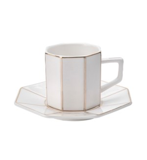 Coffee Cup and Sauce 6 by 6,3.5oz,New Bone China             643700300287