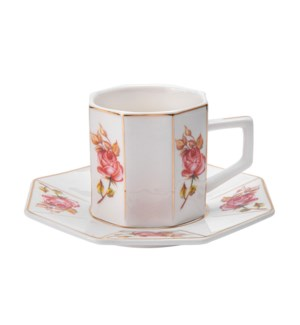 Coffee Cup and Sauce 6 by 6,3.5oz,New Bone China             643700300324