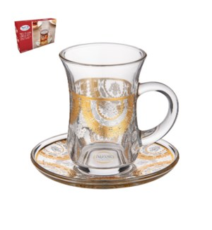 Tea Glass 6 by 6 Set 5Oz Gold Design                         643700300485