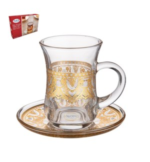 Tea Glass 6 by 6 Set 5Oz Gold Design                         643700300492