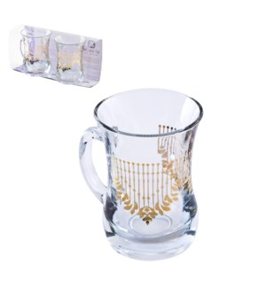 Glass Mug 2pc Set 7.6oz Cortina Gold                         643700300607