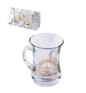 Glass Mug 2pc Set 7.6oz Athena Gold                          643700300621