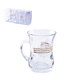 Glass Mug 2pc Set 7.6oz Ruby Gold                            643700300638