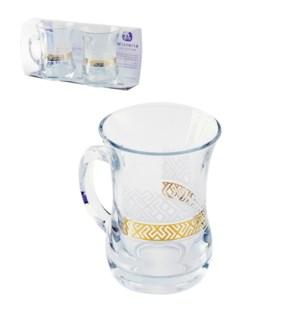 Glass Mug 2pc Set 7.6oz Treya Gold                           643700300645