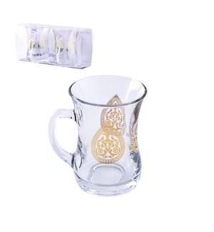 Glass Mug 2pc Set 7.6oz Greek Gold                           643700300669