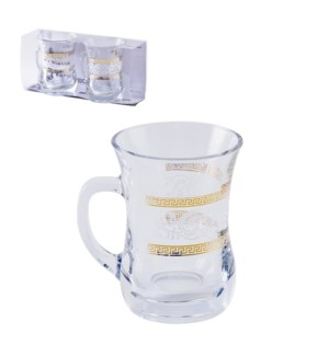 Glass Mug 2pc Set 7.6oz Roma Gold                            643700300676