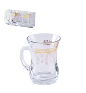 Glass Mug 2pc Set 7.6oz Sofia Gold Nude                      643700300683