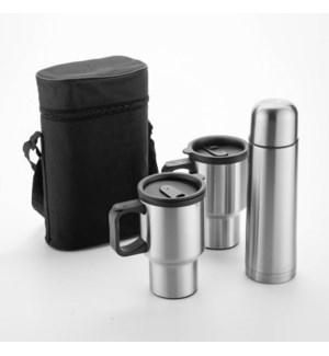 Vacuum Flask 3pc Set SS,17oz Flask,15.5oz Mug                643700301178