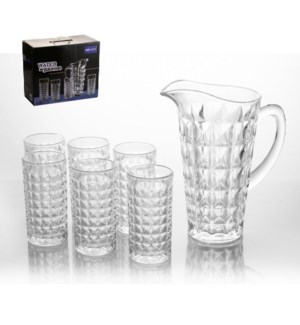 Glass Pitcher Set with 6pc Mug                               643700302175