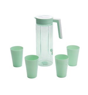 Plastic Pitcher Set, 1 Pitcher and 4 Cups                    643700302618