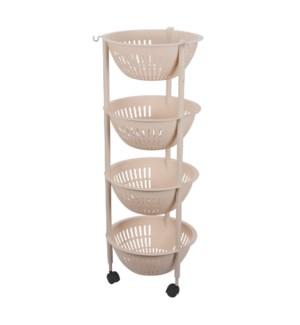 Round Basket Trolley 4 Tier 14x14x37.5in                     643700302984