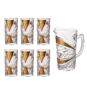 Pitcher Set 7pc Glass,with 6pc 11.6oz Tumbler                643700306043
