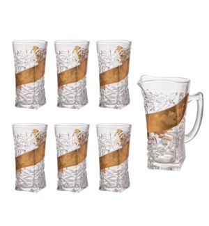 Pitcher Set 7pc Glass,with 6pc 10.2oz Tumbler                643700306050