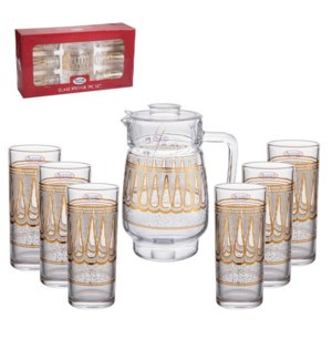 Pitcher Set 7pc Glass,with 6pc 10oz Tumbler                  643700306104