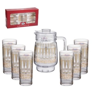 Pitcher Set 7pc Glass,with 6pc 10oz Tumbler                  643700306111