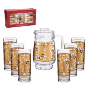 Pitcher Set 7pc Glass,with 6pc 10oz Tumbler                  643700306128