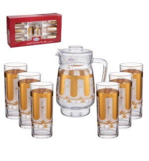 Pitcher Set 7pc Glass,with 6pc 10oz Tumbler                  643700306135