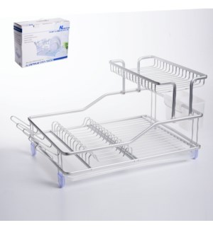 Dish Rack Alum. 18x13.5x15in with Plastic Tray and Cutlery H 643700306746