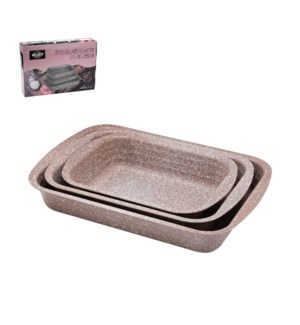 Rect. Cake Mold 3pc Set 10in,12in,14in,Coffee and Dark Green 643700306968