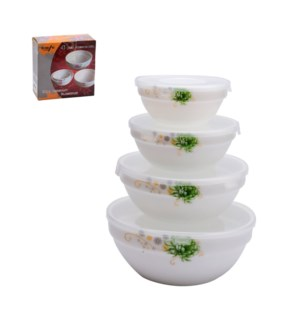 Mixing Bowl 4pc Set Opal Glass 4in,5in,6in,7in with Lid      643700307224