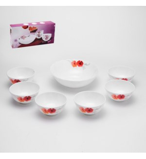 Bowl 7pc Set Opal Glass 8in,4.5in                            643700307231