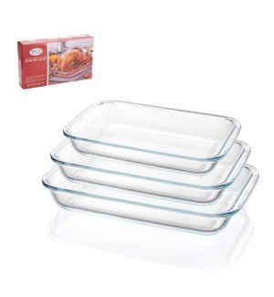 Glass Baking Tray 3pc Set Rect.                              643700308689