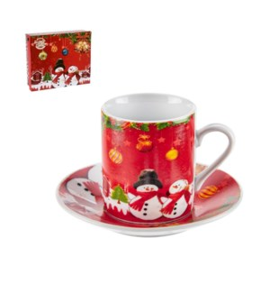 Coffee Cup and Saucer 6 by 6,3.5oz with Christmas Design Por 643700309198