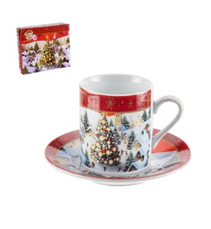 Coffee Cup and Saucer 6 by 6,3.5oz with Christmas Design Por 643700309204