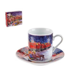 Coffee Cup and Saucer 6 by 6,3.5oz with Christmas Design Por 643700309211