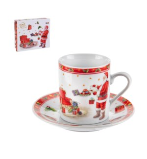 Coffee Cup and Saucer 6 by 6,3.5oz with Christmas Design Por 643700309228
