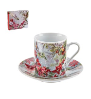 Coffee Cup and Saucer 6 by 6,3.5oz with Christmas Design Por 643700309266