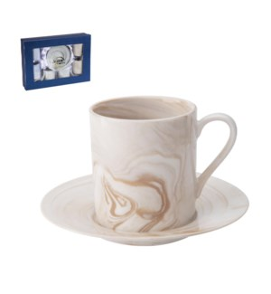 Coffee Cup and Saucer 6 by 6,3.5oz with Beige Marble Design  643700309280